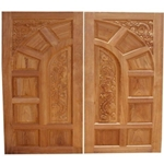 Handcarved Solid Wood Custom Garage Door - 109