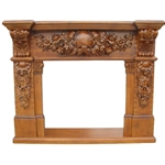 Hand carved wood fireplace-PT8009