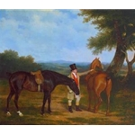 Two Hunters with a Groom circa 1805