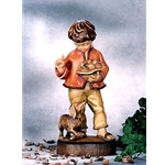 Woodcarving Boy with dog and birds