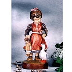 Woodcarving Girl with goose
