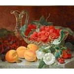 Raspberries in a Glass Dish with Peaches Grapes and Convolvulus on a Marble Ledge Stannard Eloise