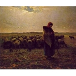 Shepherdess with Her Flock Jean Francois Millet 1864