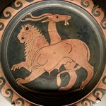 Chimera. Apulian Red-Figure Dish, ca. 350-340 BC
