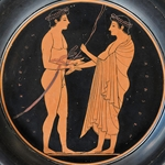 Palaestra Scene- Attic Red-Figure Plate, 520-510 BC