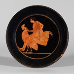 Plate-Red Figure- Boy Perched on a Rooster