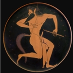 Satyr with Pipes and a Pipe Case - Attic Red-Figure Plate, 520-500 BC