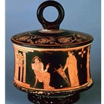 Red Figure Pyxis two Women