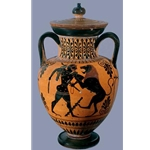 Neck Amphora with lid Herakles