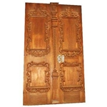 Carved Antique Roman Double Wood Door