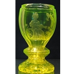 Engraved and cut glass goblet