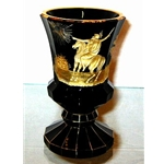 Cut and engraved goblet. Dark coloured glass