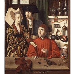 A Goldsmith in His Shop Possibly Saint Eligius Petrus Christus - 1449 1485