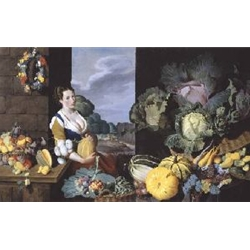 Cookmaid with Still Life of Vegetables and Fruit circa 1620-5