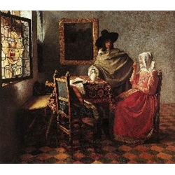 A Lady Drinking and a Gentleman, c. 1658, Johannes Vermeer