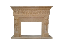 Hand-carved Marble Fireplace Mantel - LF0069