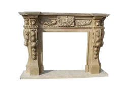 Hand-carved Marble Fireplace Mantel - LF0102