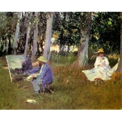 Claude Monet Painting in a Garden Near Giverny, 1885, John Sargent