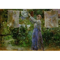 Peasant Hanging out the Washing 1881 Berthe Morisot French impressionist painter 1841 -  1895