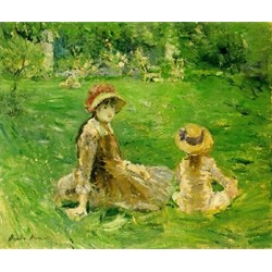 In the Garden at Maurecourt, c. 1884, Berthe Morisot, French impressionist painter