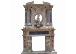 Hand-carved Marble Fireplace Mantel - SF-070