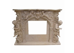Hand-carved Marble Fireplace Mantel - SF-117
