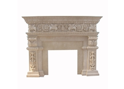 Hand-carved Marble Fireplace Mantel - SF-155