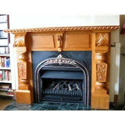 Wood Hand Carved Fireplace Surround
