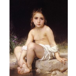 Child at Bath William Bouguereau 1825-1905
