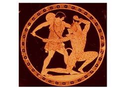 Red-Figure Dish Depicting Theseus Slaying the Minotaur