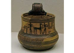 Attic Geometric Oinochoe Depicting Warriors Taming a Horse