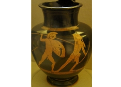 Oinochoe with Greek Warrior Attacking Persian Archer