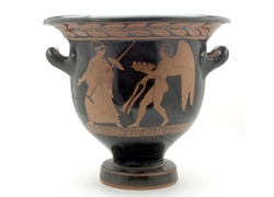 Bell Krater Nude Eros Approaches a Maiden