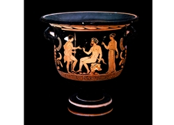 Bell Krater Satyr is Seated on a Rock