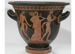 Bell Krater Woman and two Satyrs
