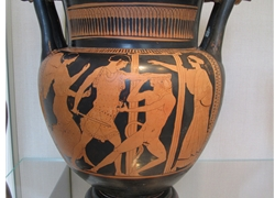 Column Krater Depicts Theseus about to Slay the Minotaur