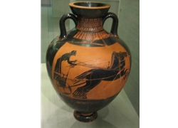 Panathenaic Amphora Chariot Race Black Figure
