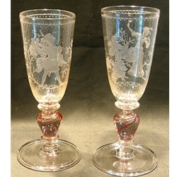 Engraved crystal glass set of two goblets